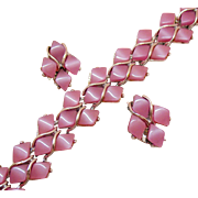 Vintage Pink Opalescent Diamond Shaped Thermoset Silver Bracelet Clip Earrings Set