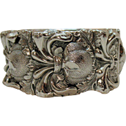 Signed Whiting and Davis High Relief Silver Victorian Revival Hinged Cuff Bracelet
