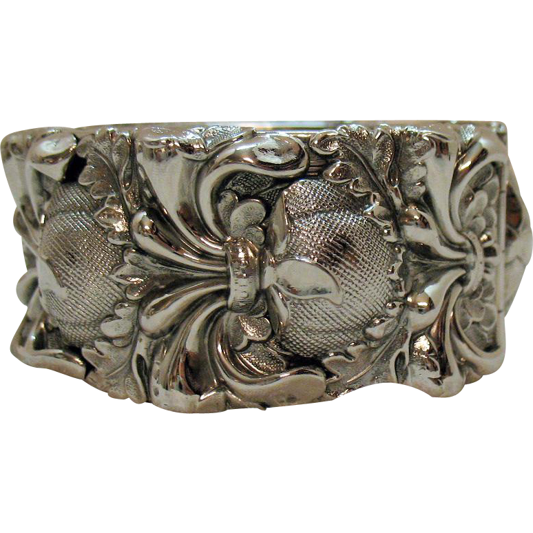 Vintage Signed Whiting and Davis High Relief Silver Victorian Revival Hinged Cuff Bracelet