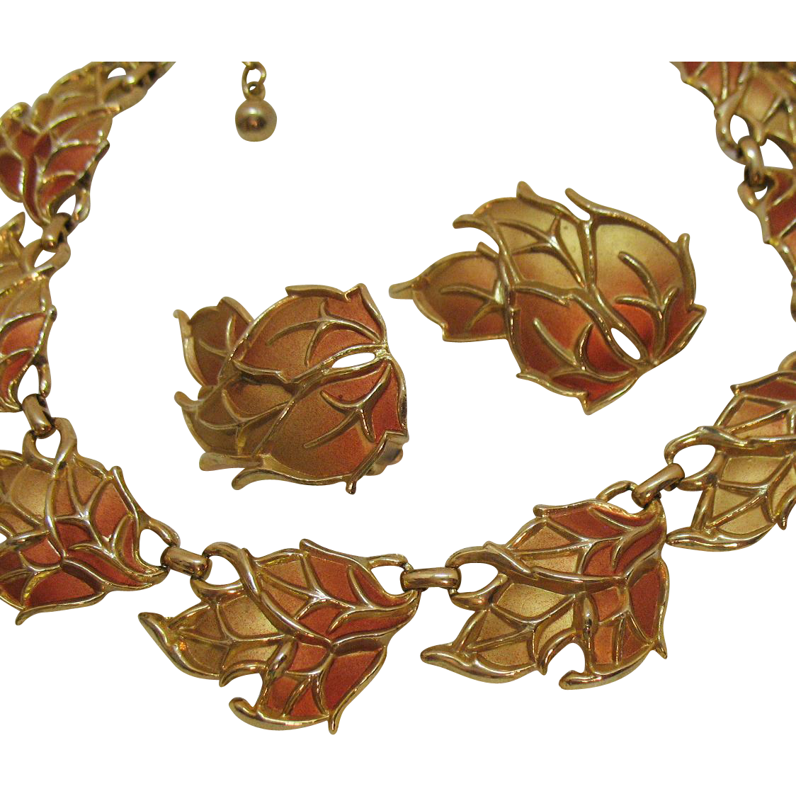 Stunning Vintage Autumn Leaf Enameled Heavy Gold Necklace Clip Earrings Set