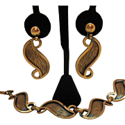 Fabulous Signed Francisco Rebajes Vintage Stylized Copper Mid Century Necklace Dangle Earrings Set