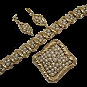 Stunning Signed Crown Trifari Vintage Pearl Rhinestone Bracelet Brooch 14K Gold Post Pierced Earrings Set