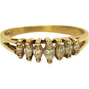 Vintage Estate 14K Yellow Gold Seven Marquise Diamond Ring Signed GM Size 4 1/2