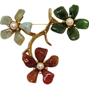 Gorgeous Signed Swoboda Vintage Genuine Jade Cultured Pearl Floral Brooch