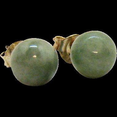 Beautiful Vintage Sterling Silver Green Jade Beaded 8mm Pierced Earrings