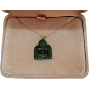 Vintage Imperial Jade 14K Hand Carved Chinese Sitting Buddha Pendant Necklace Original Box