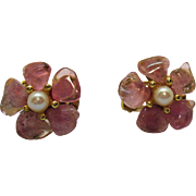 Vintage Signed Swoboda Semi Precious Pink Quarts Cultured Pearl Clip Earrings