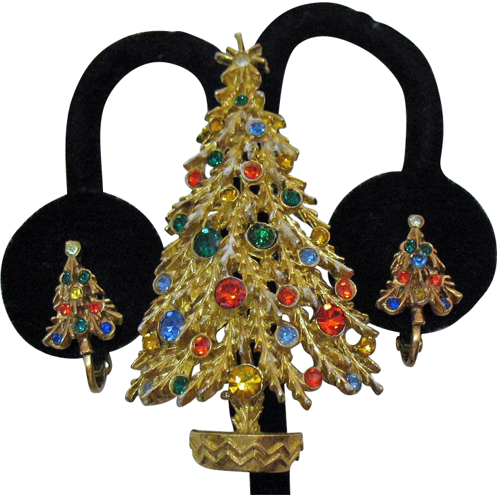 Wonderful Vintage Signed Art Rhinestone Christmas Tree Brooch Clip Earrings Set