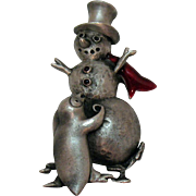 50% Off Darling Vintage Signed Pewter Snowman Penguin Christmas Brooch