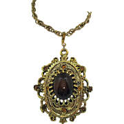 Fabulous Vintage Signed Sarah Coventry Celebrity Pendant Necklace Color Changing Glass Rhinestones