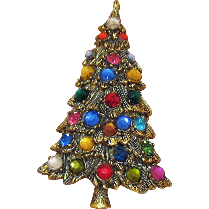 50% Off Beautiful Vintage Large Textured Rhinestone Christmas Tree Brooch