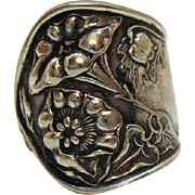 Fabulous Bold Vintage Repousse Nickle Silver Spoon Ring