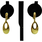 Vintage Signed Napier Pierced Lever Clutch Dangle Golden Earrings