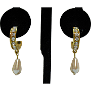 Vintage Signed Trifari TM Pierced Earrings Rhinestone Studded Hoop Drop Faux Pearl