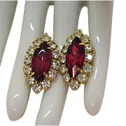 Stunning Vintage Ruby Red Navette Clear Rhinestone Pierced Earrings