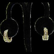 Beautiful Signed Monet Vintage Channel Set CZ Lever Clip Earrings