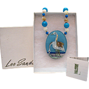 Vintage Signed Lee Sands Bird at the Sea Inlay Natural Gemstone Necklace Original Box Paperwork