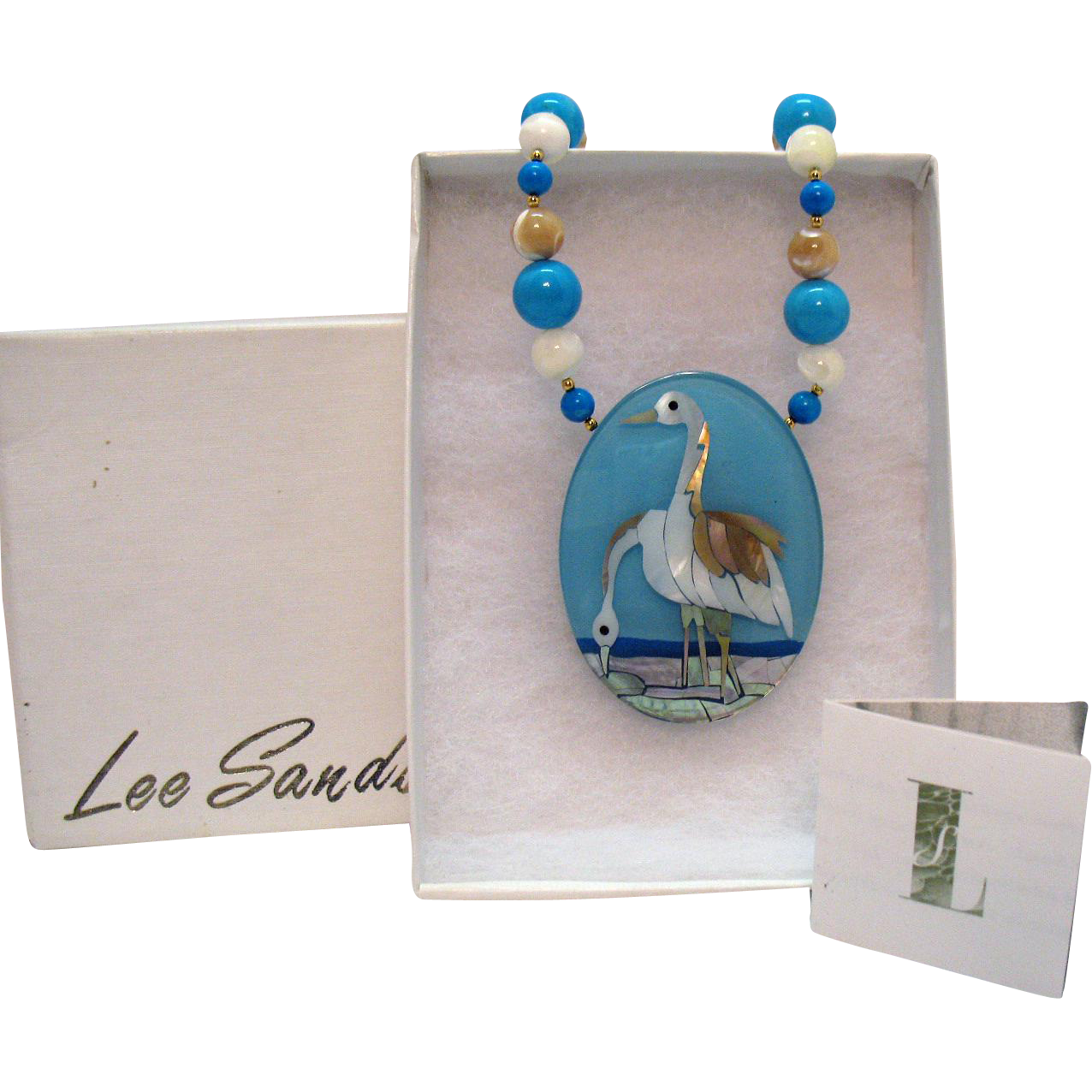 Vintage Signed Lee Sands Bird at the Sea Inlay Natural Gemstone Necklace Original Box Paperwork