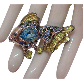 Rare Vintage Signed Monet Rhinestone Angel Fish Guilloche Enameled Brooch