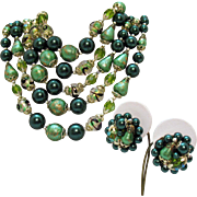 Gorgeous Vintage Five Strand Emerald Art Glass Beaded Necklace Clip Earrings Set