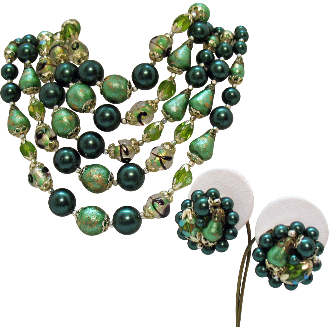 Gorgeous Vintage Five Strand Emerald Art Glass Beaded