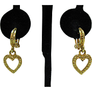 Vintage Hoop Heart Dangle Golden Clip Earrings Pierced Look