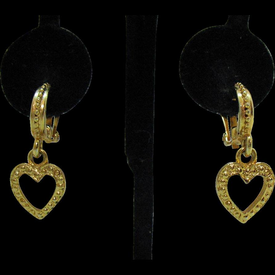 Vintage Hoop Heart Dangle Golden Clip Earrings Pierced Look