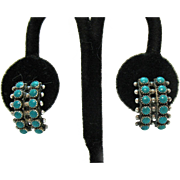 Early Vintage Native American Indian Petite Point Beaded Sterling Silver Earrings Screw Back