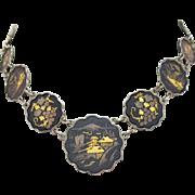 Exquisite Vintage Estate Signed Amita Japan Sterling Silver Damascene Pictorial Necklace
