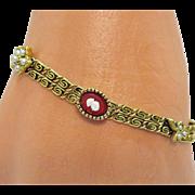 Wonderful Vintage Signed Goldette Faux Pearl Coral Cameo Bracelet