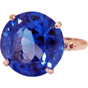 Amazing Vintage Art Deco Period Cornflower Blue Glass Sapphire Solitaire Sterling Silver Ring 8 Carats
