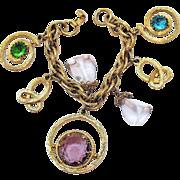 Big Bold Vintage Glass Rhinestone Chunky Charm Bracelet High End Designer!