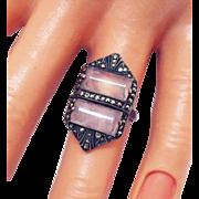 Gorgeous Vintage Art Deco Period Sterling Pink Quarts Marcasite Ring