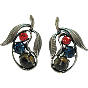 Rare Signed Vintage Elsa Schiaparelli Rhinestone Glass Cabochon Pear Clip Earrings Silver Antiqued
