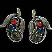 Rare Signed Vintage Elsa Schiaparelli Rhinestone Glass Cabochon Pear Clip Earrings Silver Antiqued