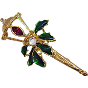 Beautiful Victorian Revival Christmas Lamp Post Brooch Rhinestones Enameling