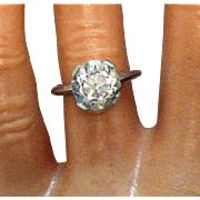 Vintage Signed 14K JAC White Gold Crystal Quarts Gemstone Solitaire Ring 3 Carats