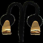 Wonderful Vintage Signed Napier 1965 Lever Screw Back Golden Hoop Earrings