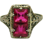 Amazing Vintage 14K White Gold Pink Emerald Cut Glass Stones Art Deco Era