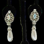 Vintage Rhinestone Faux Pearl Drop Pierced Earrings