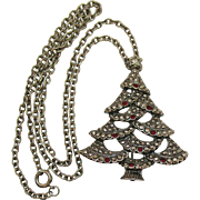 Beautiful Vintage Signed Avon Rhinestone Marquise Convertible Christmas Tree Brooch Pendant Necklace