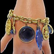 Spectacular Vintage Sapphire Glass Etruscan Charm Bracelet