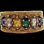 Estate 10K Gold Vintage Seven Marquise Gemstone Ring Beautiful Milgrain Workmanship