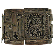 Signed CH Spanish Colonial Vintage Sterling Silver Inca Story Telling Wide Bracelet