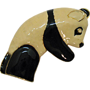 Adorable Vintage Large Enameled Figura Panda Brooch