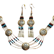 Unusual Vintage Signed Native American Indian Kachina Concha Heishi Necklace Pierced Earrings Set Sterling Silver