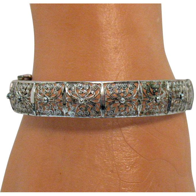 French 800 Silver Cannetille Signed Willi Nonnenmann Vintage Filigree Bracelet Art Deco Era