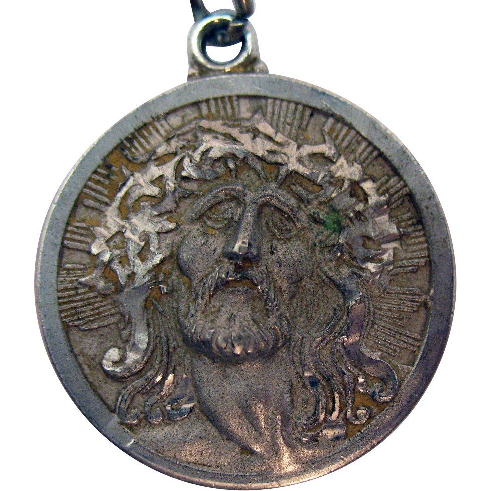 Stunning Signed ROC Sterling Silver Portrait Christ Our Savior Charm or Pendant Necklace