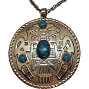 Huge Signed Bell Trading Company Thunderbird Faux Turquoise Necklace Nickle Silver