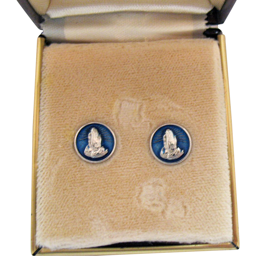 Signed B David 14K White Gold Post Pierced Earrings Blue Guilloche Enameling Praying Hands Original Box